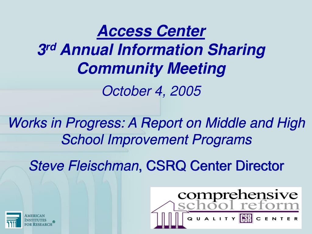 access center 3 rd annual information sharing community meeting l.