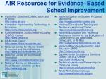 air resources for evidence based school improvement