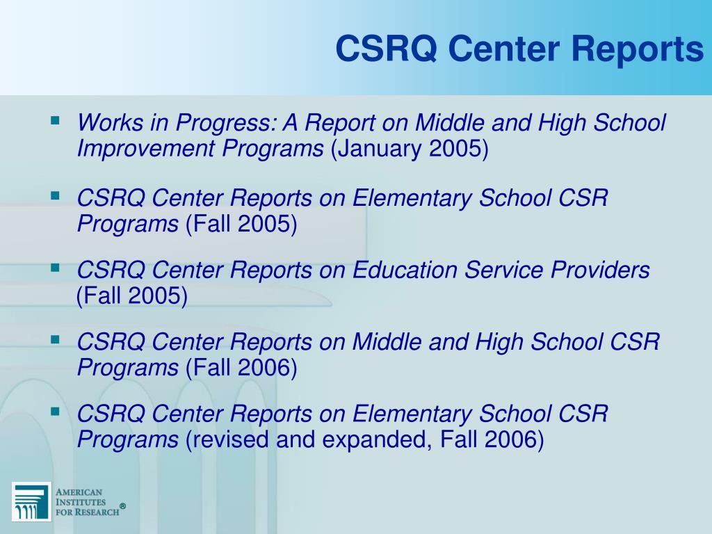 CSRQ Center Reports