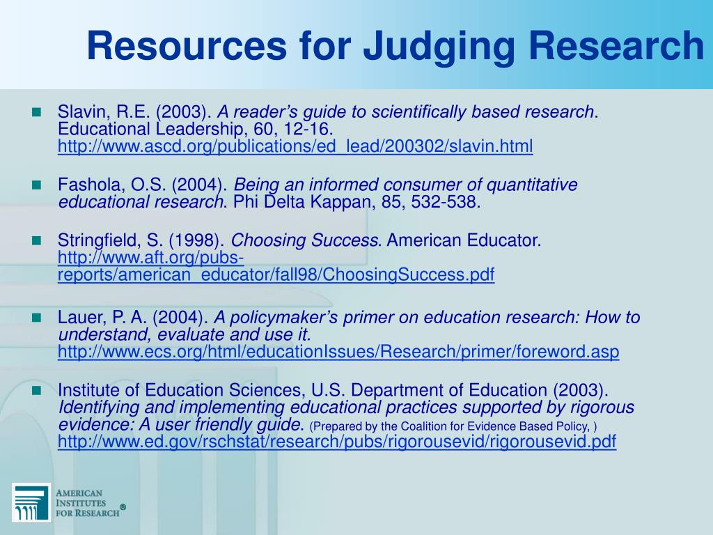 Resources for Judging Research