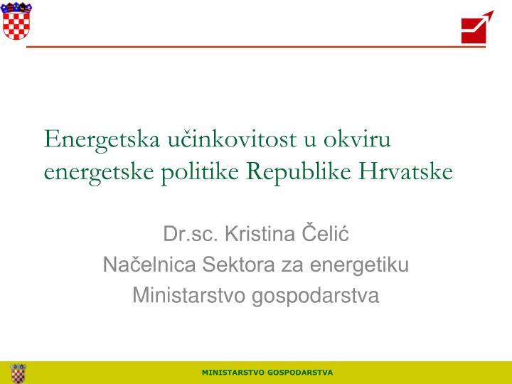 energetska u inkovitost u okviru energetske politike republike hrvatske n.