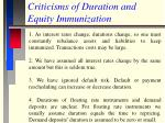 criticisms of duration and equity immunization