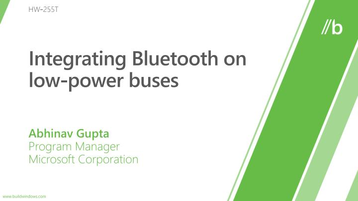 integrating bluetooth on low power buses n.