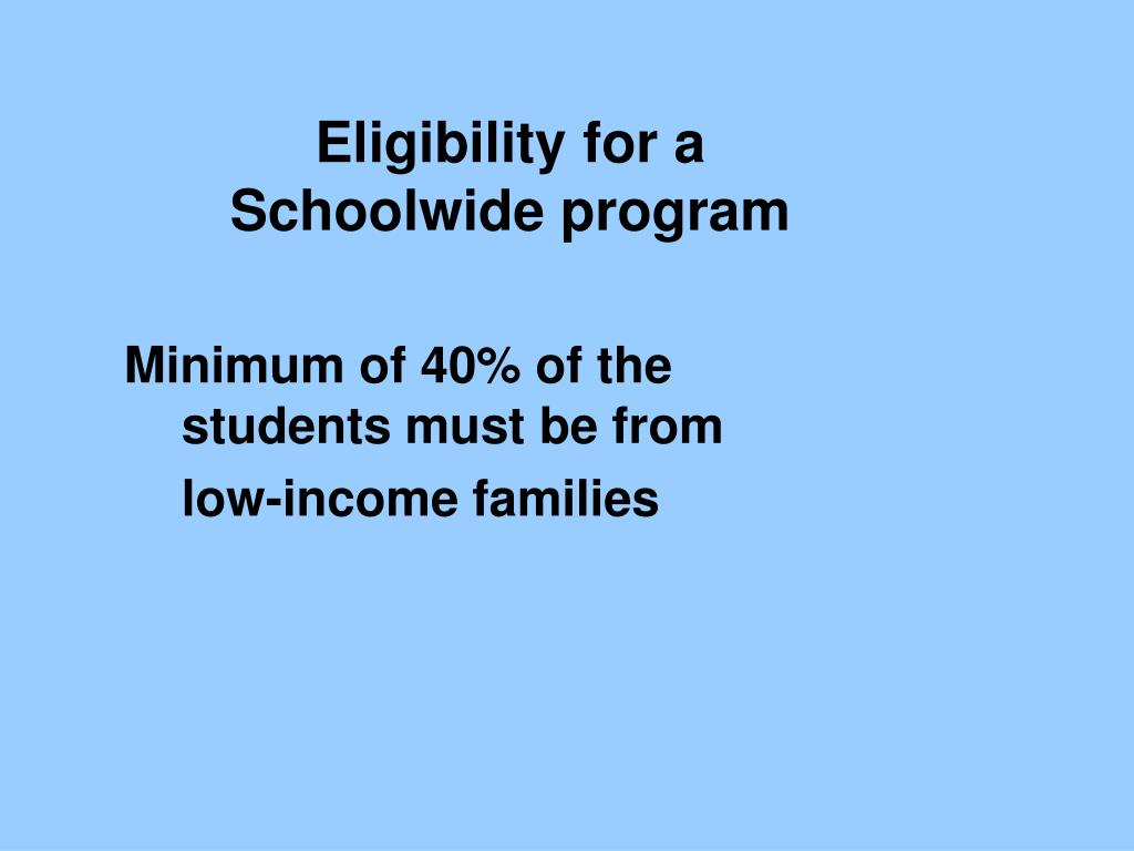 Eligibility for a