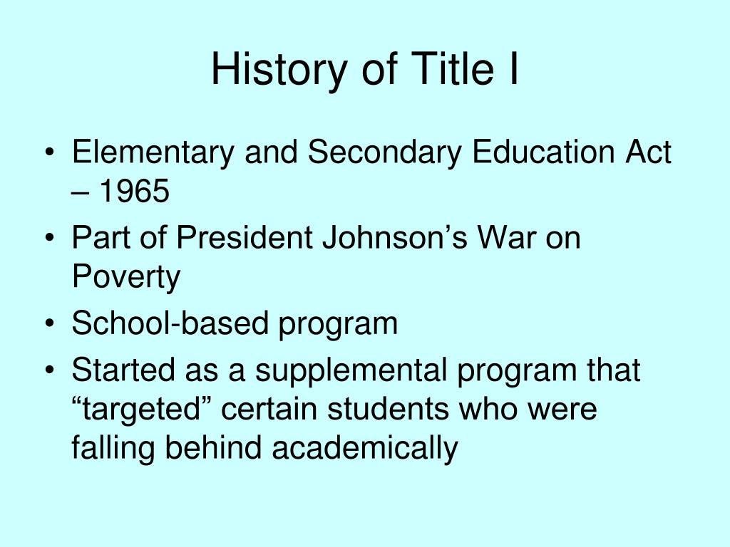 History of Title I