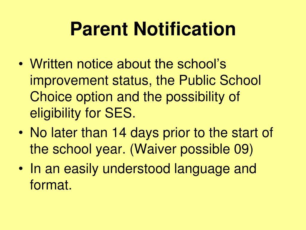 Parent Notification