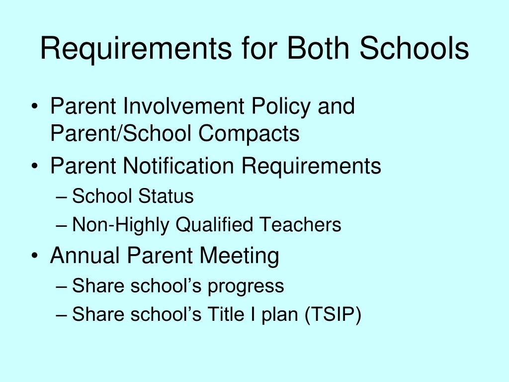 Requirements for Both Schools