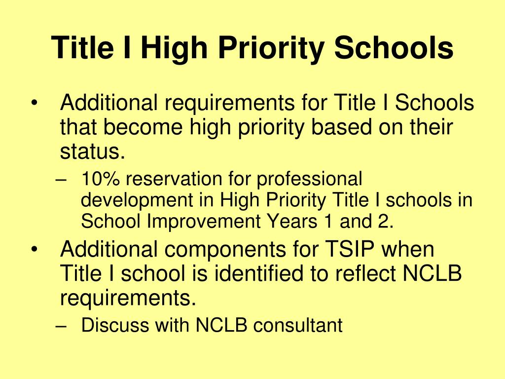 Title I High Priority Schools