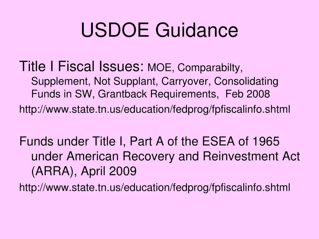 USDOE Guidance