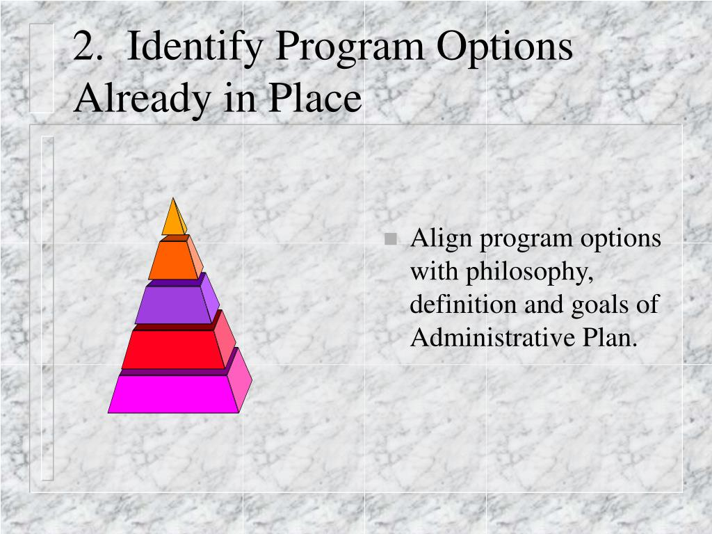 2.  Identify Program Options Already in Place