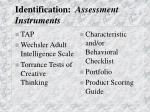 identification assessment instruments
