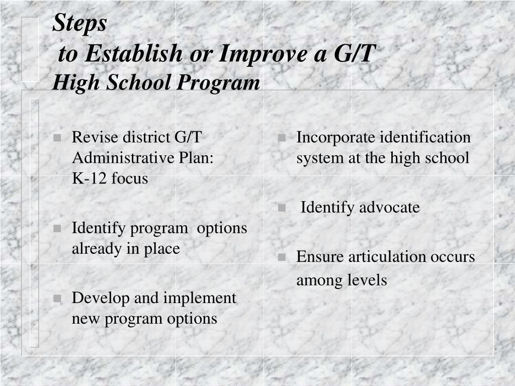 Revise district G/T Administrative Plan:      K-12 focus