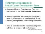 performance management annual career development plans