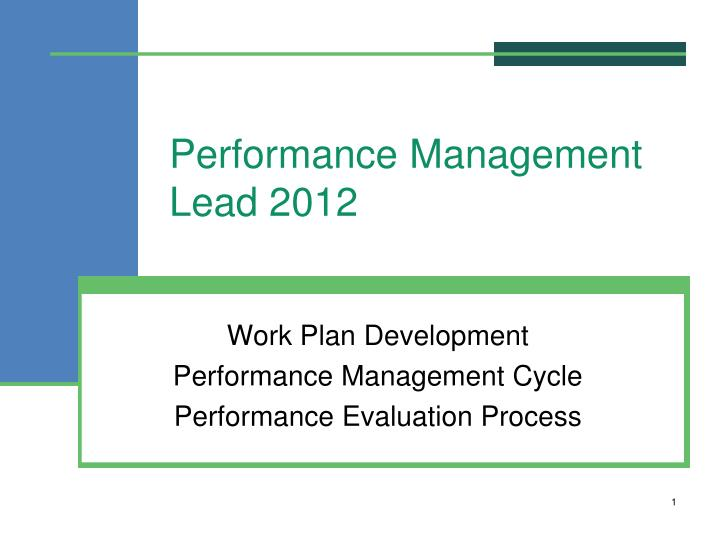 performance management lead 2012 n.