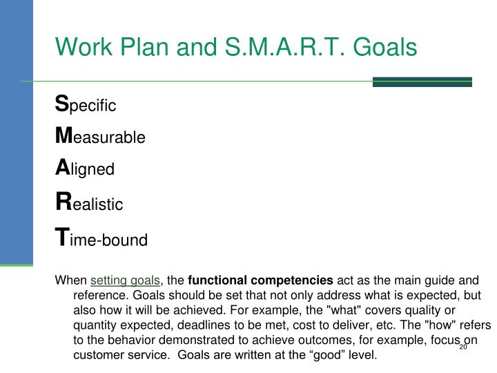 Work Plan and S.M.A.R.T. Goals