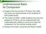 unidimensional basis for comparison