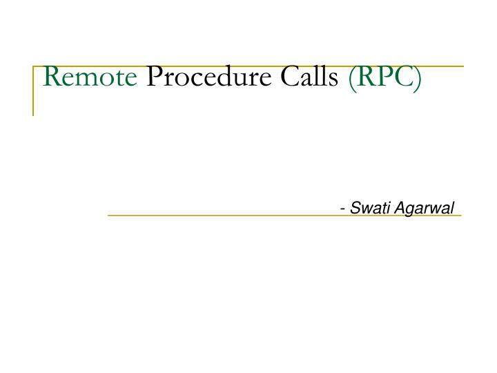 remote procedure calls rpc n.