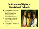 information nights at specialized schools