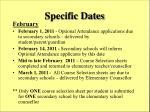 specific dates
