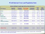 world internet users and population stats