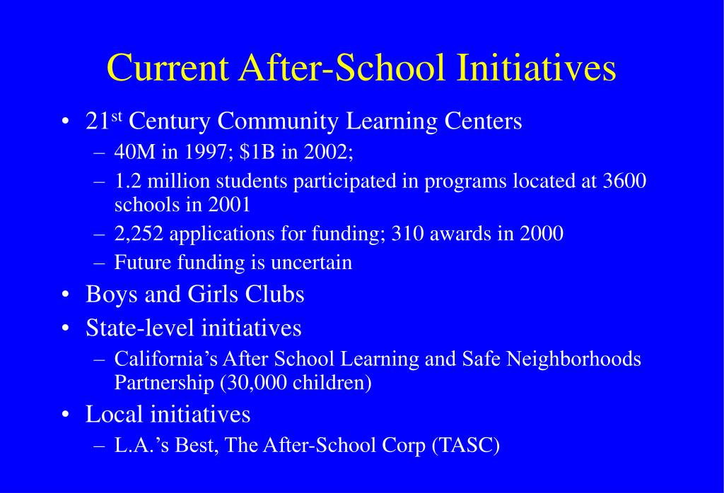 Current After-School Initiatives