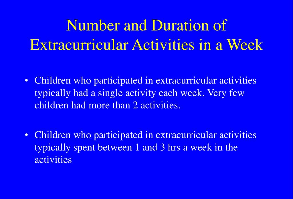 Number and Duration of Extracurricular Activities in a Week