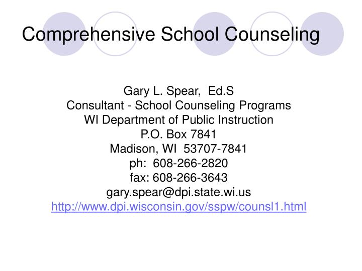 Comprehensive school counseling
