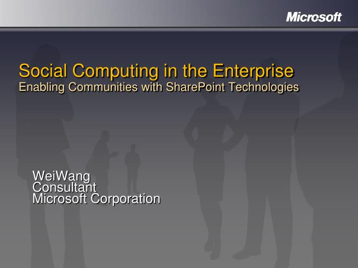 social computing in the enterprise enabling communities with sharepoint technologies n.