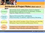 attribution of project roles ideal case of mali