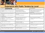 experience with public tenders by local councils