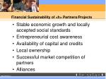 financial sustainability of h partners projects