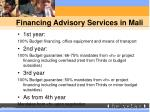 financing advisory services in mali