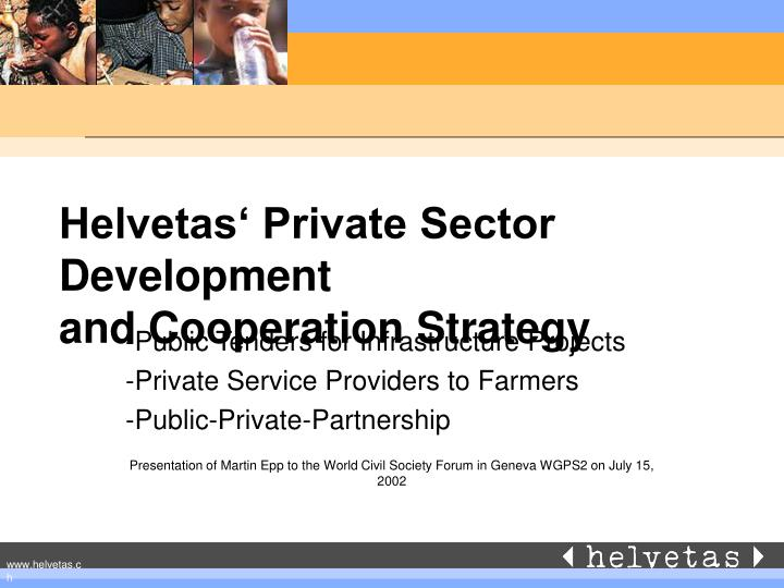helvetas private sector development and cooperation strategy n.