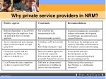 why private service providers in nrm