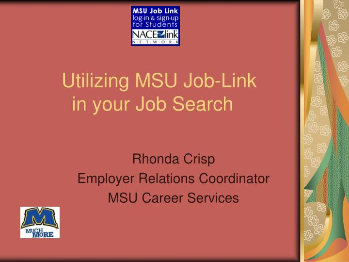 utilizing msu job link in your job search n.