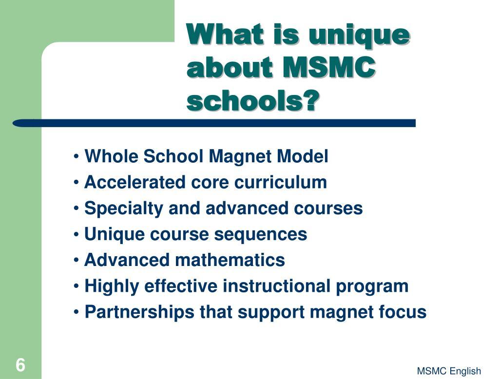 What is unique about MSMC schools?