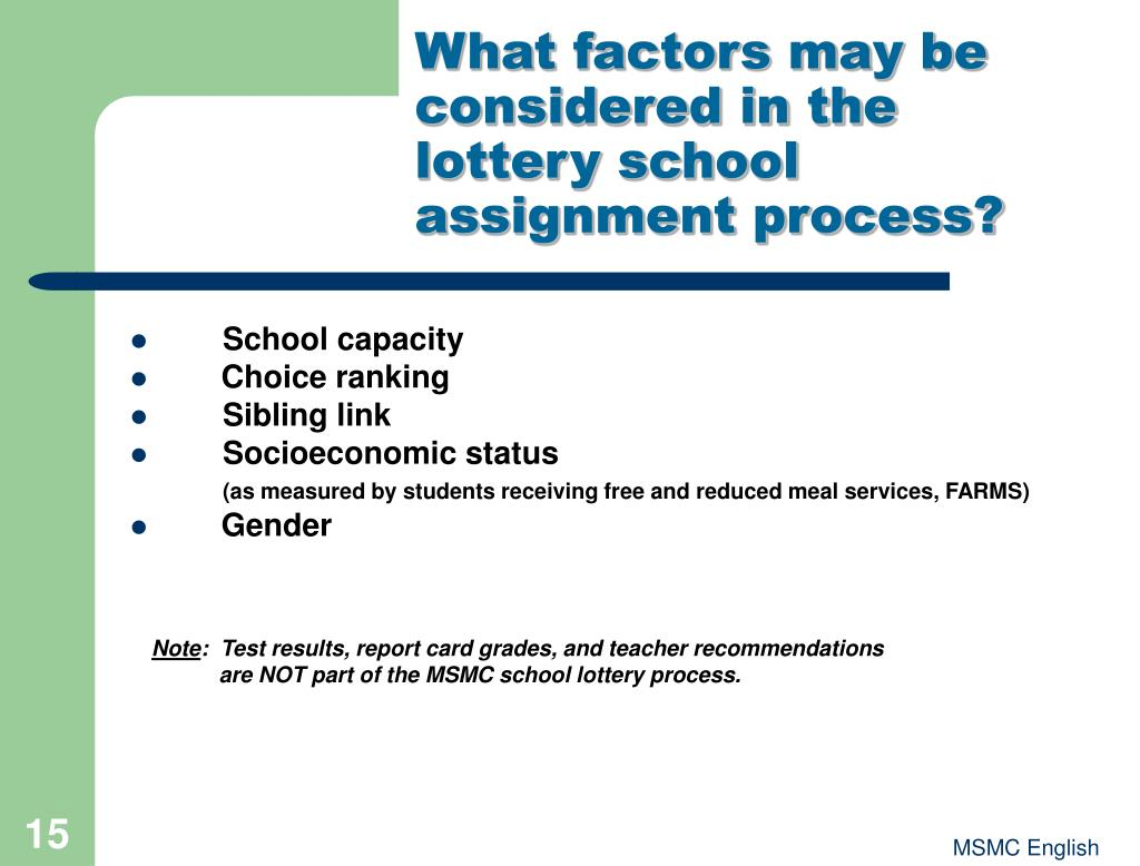 What factors may be considered in the lottery school assignment process?