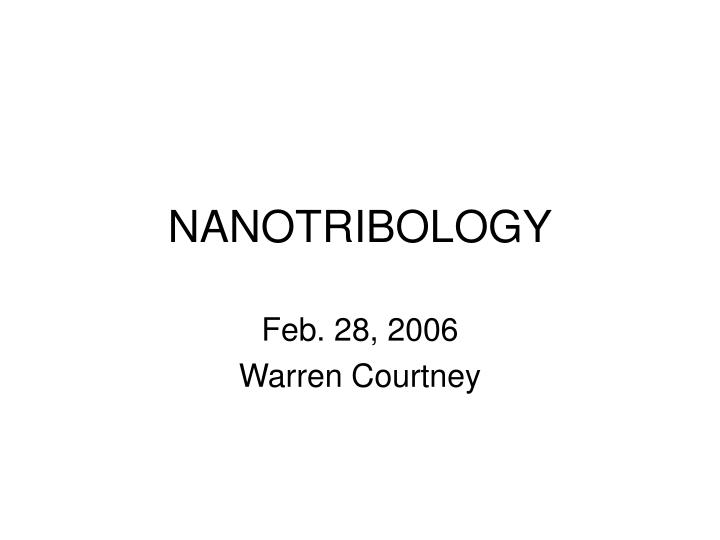 nanotribology n.