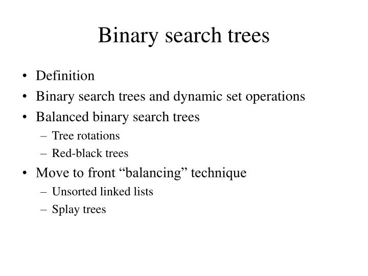 binary search trees n.