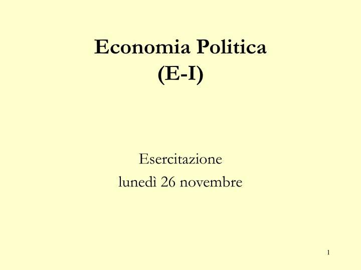 economia politica e i n.