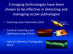 3 imaging technologies have been shown to be effective in detecting and managing ocular pathologies