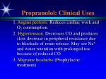 propranolol clinical uses