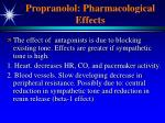 propranolol pharmacological effects