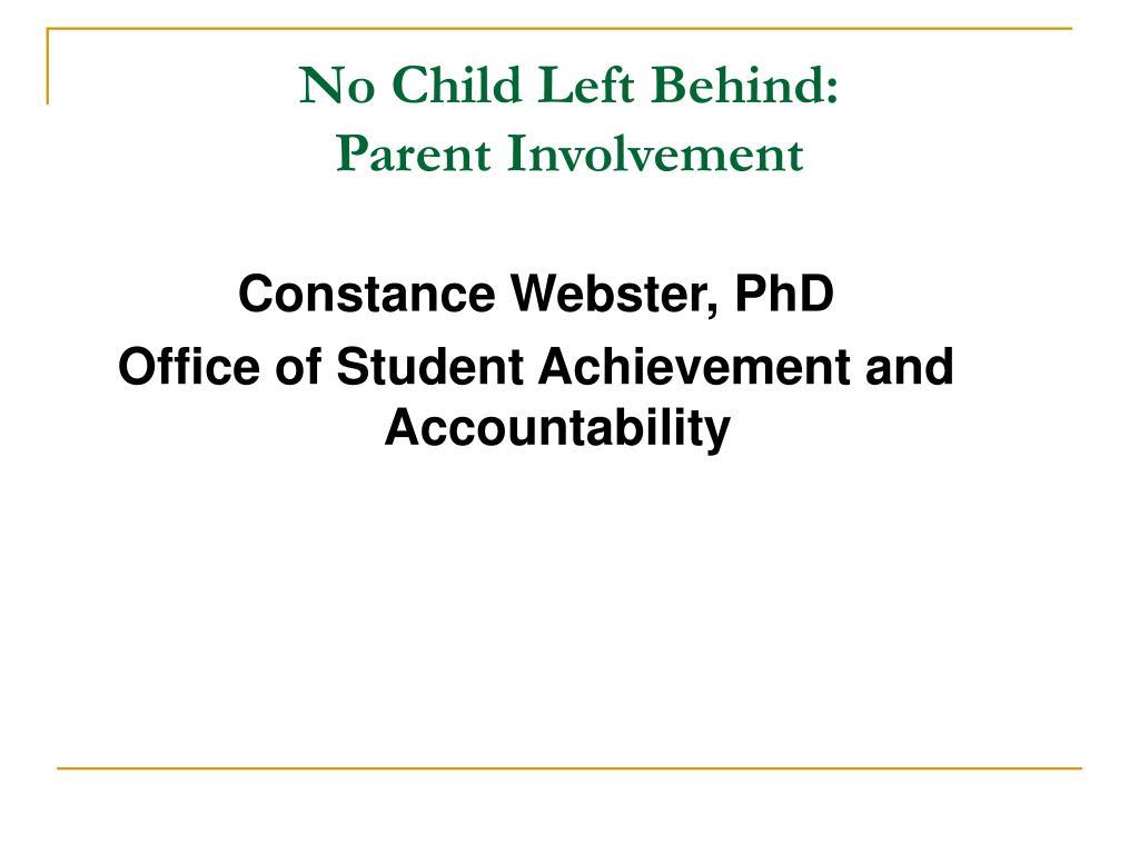 no child left behind parent involvement l.