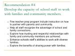 recommendation 4 develop the capacity of school staff to work with families and community members