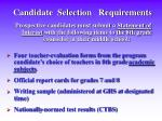 candidate selection requirements