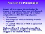selection for participation
