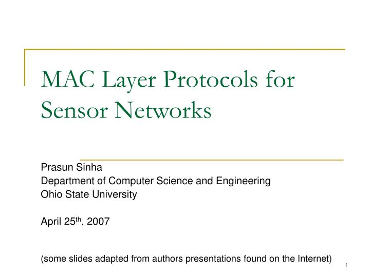 mac layer protocols for sensor networks n.