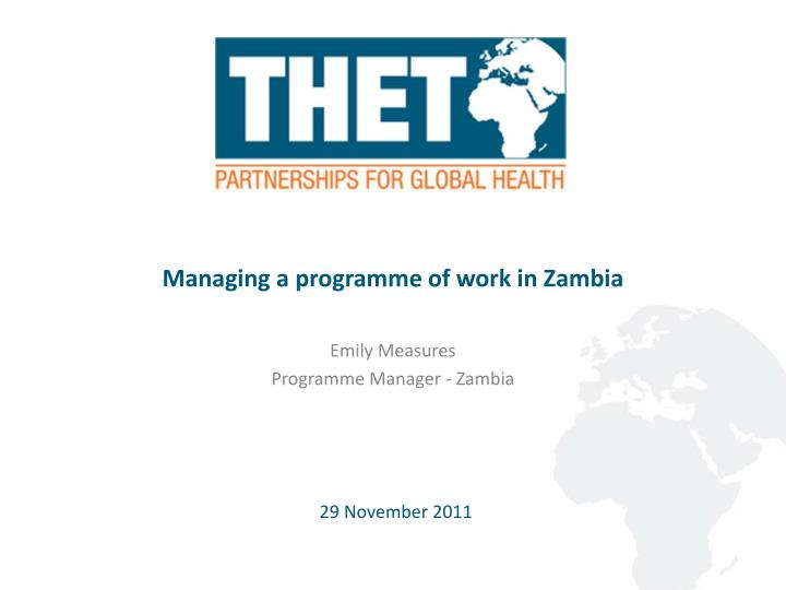 managing a programme of work in zambia n.