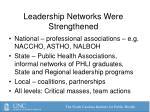 leadership networks were strengthened